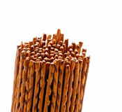 Salted pretzel sticks isolated on white Stock Photography