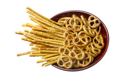 Salted pretzels. Royalty Free Stock Images