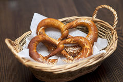 Salted pretzels in a basket Stock Photo