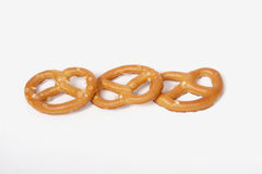 Salted Pretzels. Pic of Salted Pretzels on white Stock Photo