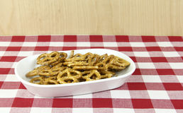 Salted Pretzels on a Tablecloth Stock Photo