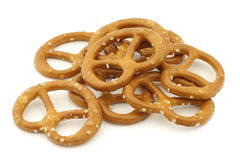 Salted pretzels. On a white background Royalty Free Stock Photos