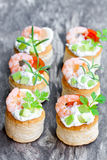 Salted   puff pastry stuffed with cream cheese and prawns Royalty Free Stock Images