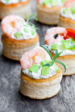 Salted  puff pastry  stuffed with cream cheese and prawns Stock Photos