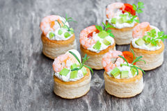 Salted  puff pastry  stuffed with cream cheese and prawns Royalty Free Stock Photography