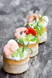 Salted  puff pastry  stuffed with cream cheese and prawns Stock Image