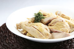 Salted raw chopped boile dchicken on white dish stock photos