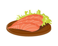 Salted red fish slice on wooden board fresh meat plate healthy fillet meal dinner vector and gourmet food diet. Ingredient portion prepared illustration Stock Image