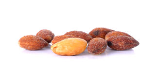 Salted and roasted almonds on white background Royalty Free Stock Photo