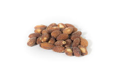 Salted and roasted almonds on white background Stock Photography
