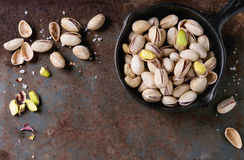 Salted roasted pistachios Royalty Free Stock Photos