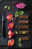 Salted salmon with beetroot Stock Images
