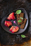 Salted salmon with beetroot Stock Photo