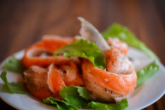 Salted salmon bellies with spices Royalty Free Stock Images