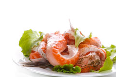 Salted salmon bellies with spices Stock Photography