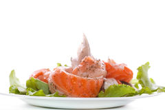 Salted salmon bellies with spices Royalty Free Stock Image