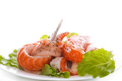 Salted salmon bellies with spices Stock Photos
