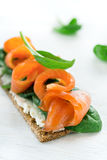 Salted salmon on crispy bread with cheese and spinach Stock Photos