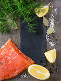 Salted salmon with dill Stock Images