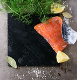Salted salmon with dill Stock Photo