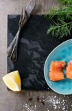 Salted salmon with dill Stock Image