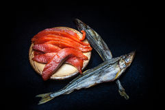 Salted salmon and dried smelt Royalty Free Stock Image