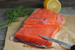 Salted Salmon. Festive delicacy appetizer of fish stock photos