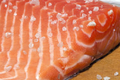 Salted salmon fillet close up. Fresh salmon fillet salted with coarse sea salt close up Stock Photos