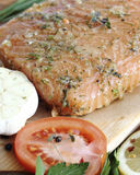 Salted salmon fillet Stock Images