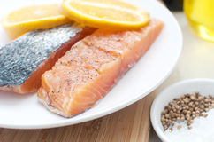 Salted salmon fillets with oranges Royalty Free Stock Images