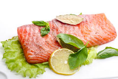 Salted salmon fillets Royalty Free Stock Photo