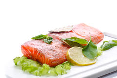 Salted salmon fillets Royalty Free Stock Photography