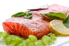 Salted salmon fillets Royalty Free Stock Images