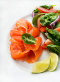 Salted salmon with fresh green salad and lime royalty free stock photo