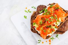 Salted salmon, red caviar, avocado toasts. Salted salmon, red caviar, avocado and cream cheese rye crisp toast royalty free stock photography