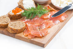 Salted salmon, red caviar, toast and butter, close-up Royalty Free Stock Photo