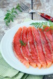 Salted salmon red fish sliced Stock Photo