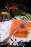 Salted salmon with spices Stock Image