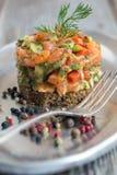 Salted salmon tartare. Stock Photo