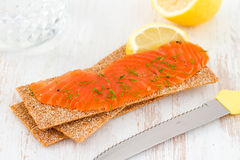 Salted salmon with toast Royalty Free Stock Photo