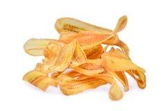 Salted secó las rebanadas del plátano aisladas en el fondo blanco Imagenes de archivo