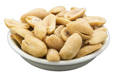 Salted shelled peanuts bowl isolated white Stock Photography