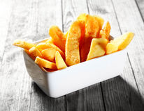 Salted steak Fried French Fries on White Bowl Royalty Free Stock Images