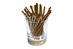 Salted sticks in glass Stock Photography