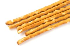 Salted sticks isolated on a white stock photo