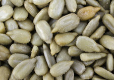 Salted Sunflower Seeds Full Frame Close Up Stock Photo