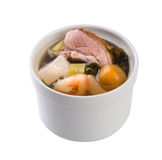 Salted vegetable soup with tofu and duck Stock Image