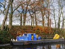 Leeds Liverpool Canal at Salterforth in the beautiful countryside on the Lancashire Yorkshire border in Northern England. Salterforth is a village within the Royalty Free Stock Images