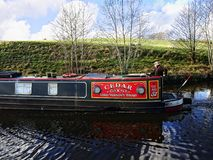 Leeds Liverpool Canal at Salterforth in the beautiful countryside on the Lancashire Yorkshire border in Northern England. Salterforth is a village within the Royalty Free Stock Photo