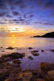 Saltern Cove at sunrise. Beautiful dawn light at Saltern Cove near Paignton South Devon royalty free stock images